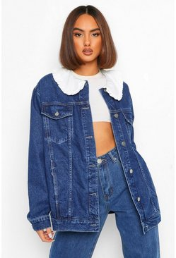 Mid blue blue Collared Ruffle Denim Jacket