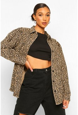 Stone beige Leopard Balloon Sleeve Denim Shirt