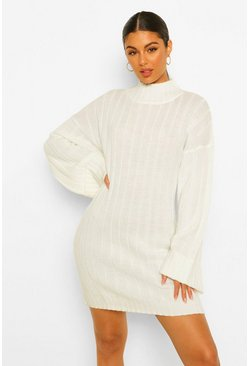 Cream Maxi Wide Sleeve Wide Rib Jumper Dress