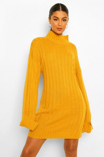 Mustard yellow Maxi Wide Sleeve Wide Rib Jumper Dress