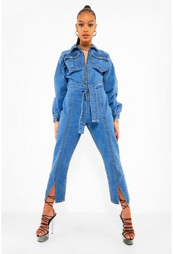 Mid blue Volume Sleeve Split Hem Denim Jumpsuit