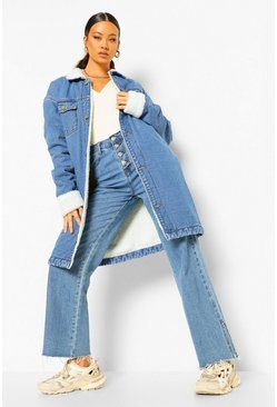 Mid blue blue Longline Borg Lined Denim Jacket