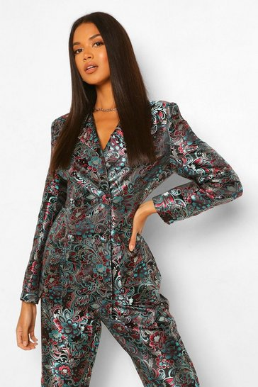 Black Tailored Oriental Jacquard Double Breasted Blazer