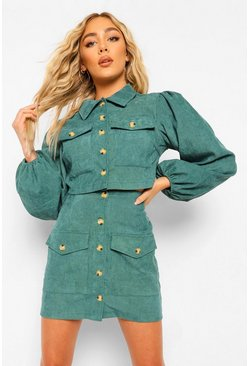 Emerald green Volume Sleeve Cord Crop Jacket And Skirt Co Ord