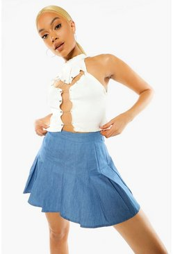 Mid blue blue Pleated Denim Tennis Skirt
