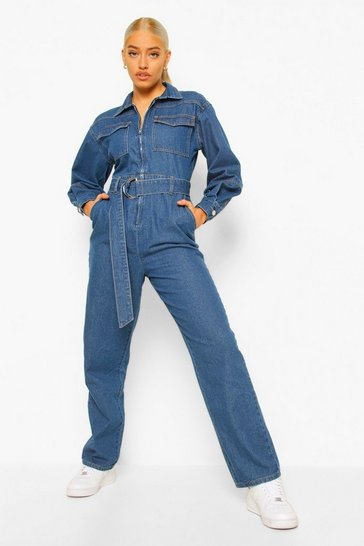 Mid blue blue Balloon Sleeve Belted Denim Jumpsuit