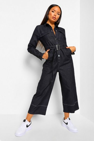 Contrast Stitch Belted Denim Jumpsuit