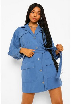 Mid blue blue Denim Belted Utility Dress