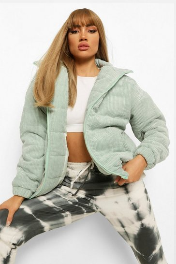 Sage green Oversized Cord Puffer Jacket