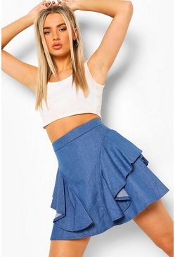 Mid blue blue Ruffle Denim Skirt