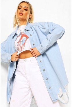 Light blue blue Oversized Busted Denim Shirt
