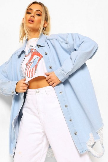 Light blue blue Blue Oversized Busted Denim Shirt
