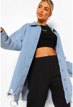 Mid blue blue Oversized Busted Denim Shirt