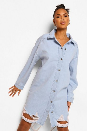 Light blue blue Distressed Denim Shirt Dress