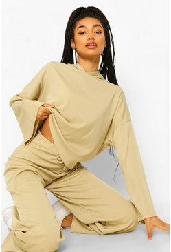 Rib Flare Sleeve Hoody and Wide Trouser Co-ord, Sage grün