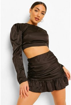Black Satin Blouse and Ruched Frill Mini Skirt Co-ord