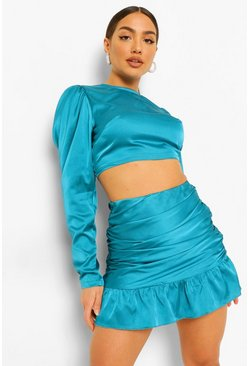 Teal green Satin Blouse And Ruched Frill Mini Skirt Two-Piece