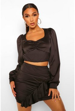 Black Satin Ruche Front Top And Frill Mini Skirt Two-Piece