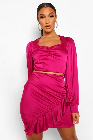 Magenta pink Satin Ruche Front Top and Frill Mini Skirt Co-ord