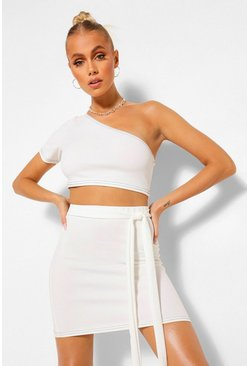 Contrast Stitch Crop Top and Belt Mini Skirt Co-ord, Ivory weiß