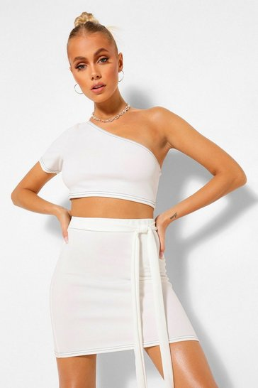 Ivory white Contrast Stitch Crop Top and Belt Mini Skirt Co-ord