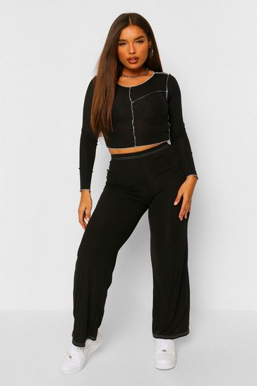 Black Contrast Stitch Lettuce Hem Top and Trouser Co-ord