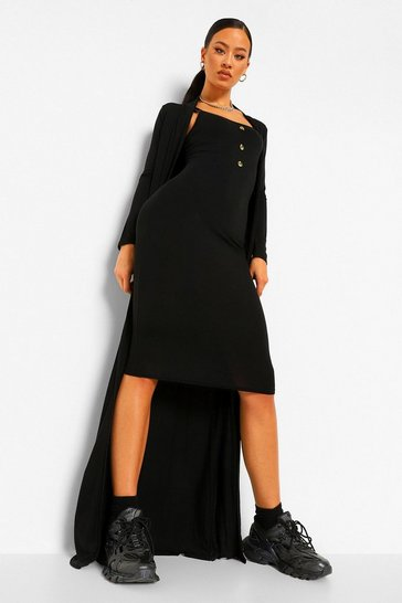 Black Button Detail Midi Dress and Duster Co-ord