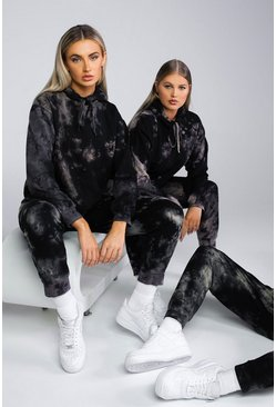 Black Bleached Sweater Tracksuit