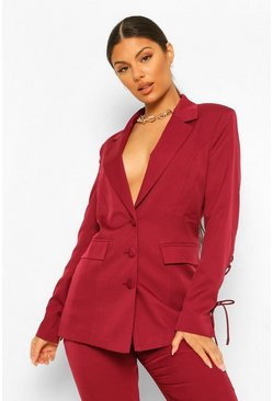 Raspberry pink Tailored Lace Up Sleeve Fitted Blazer