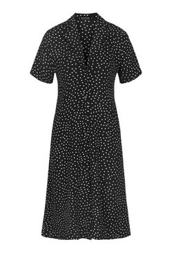 Black Polka Dot Shirt Style Midi Dress