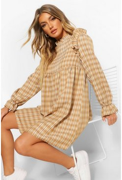 Tan brown Check Ruffle Neckline Smock Dress