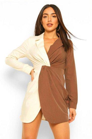 Chocolate brown Contrast Twist Detail Blazer Dress