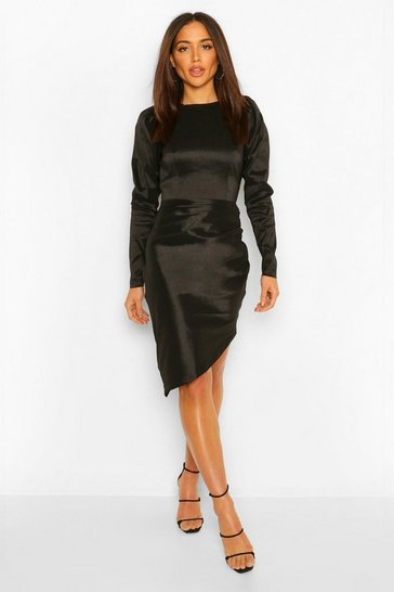 Black Open Back Puff Sleeve Midi Dress