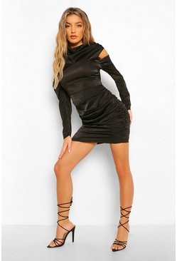 Black Satin Cowl Neck Ruched Mini Dress