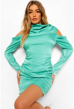 Green Satin Cowl Neck Ruched Mini Dress