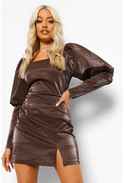 Chocolate brown PU Square Neck Puff Sleeve Mini Dress