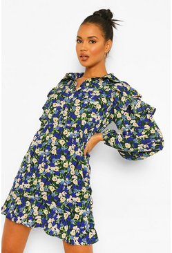 Navy Floral Cold Shoulder Ruffle Shirt Dress
