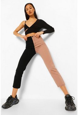 Dusky pink pink Colour Block High Rise Straight Leg Jeans