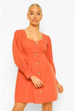 Rust orange Mock Horn Button Long Sleeve Denim Shift Dress