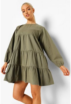 Khaki Denim Tiered Smock Dress