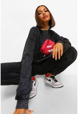 Charcoal Acid Wash Lip Print Oversize Sweatshirt