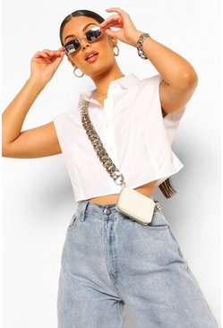White Shoulder Pad Cropped Blouse