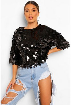 Black Oversized Top Met Pailletten En Korte Mouwen