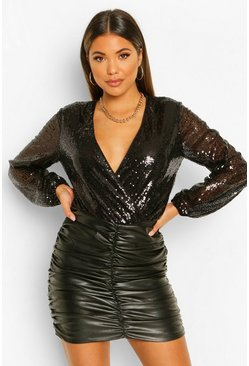 Black Sequin Long Sleeve Wrap Bodysuit