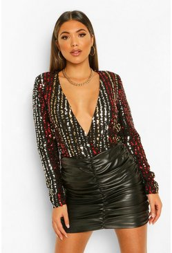 Black Sequin Stripe Long Sleeve Wrap Bodysuit