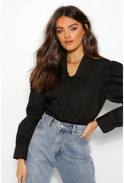 Black Woven Puff Sleeve Collar Detail Shirt