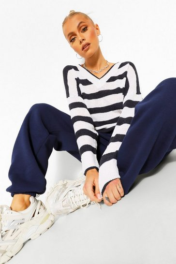 Navy Basic Stripe V Neck Jumper
