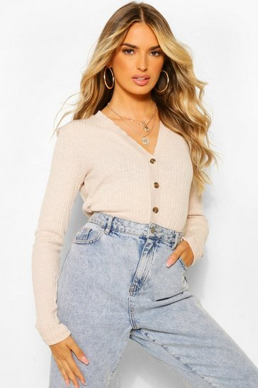 Beige Basic Rib Knit Crop Cardigan