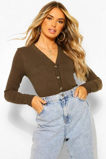 Khaki Basic Rib Knit Crop Cardigan