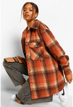 Terracotta Brushed Check Shacket
